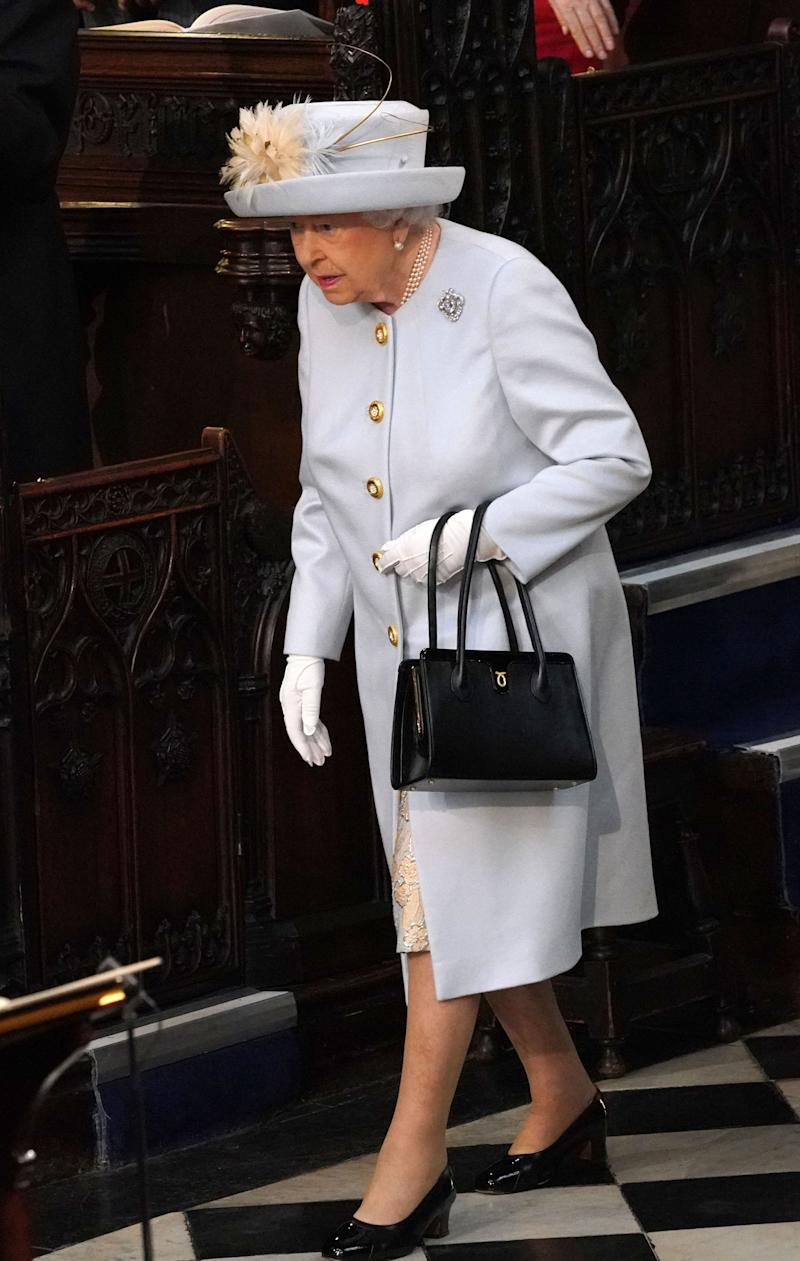 Queen Elizabeth II arrives ahead of the wedding of Princess Eugenie of York and Mr. Jack Brooksbank at St. George's Chapel on October 12, 2018, in Windsor, England.