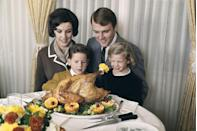 "<p>Thanksgiving garnishes were on another level in the late '60s and early '70s, with bright, intricately cut fruits adorning platters — maraschino cherries were key — and tasseled turkey socks adding flair to the <a href=""https://www.goodhousekeeping.com/holidays/thanksgiving-ideas/a25949/mistakes-cooking-turkey/"" rel=""nofollow noopener"" target=""_blank"" data-ylk=""slk:birds' drumsticks"" class=""link rapid-noclick-resp"">birds' drumsticks</a>.</p>"