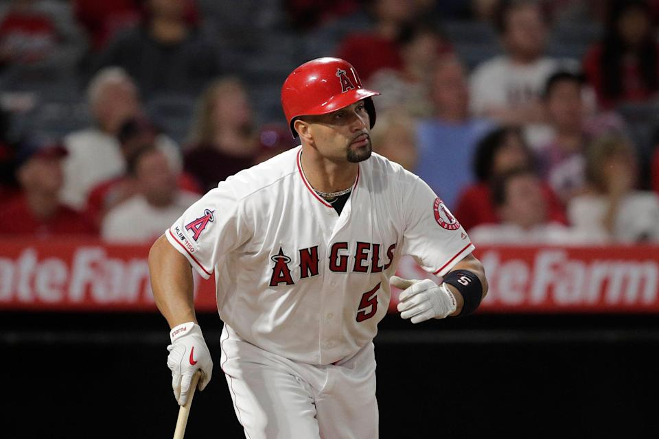 Los Angeles Angels' first baseman Albert Pujols is the third player in MLB's 2,000-RBI club, joining Hank Aaron and Alex Rodriguez. (AP Photo/Jae C. Hong)