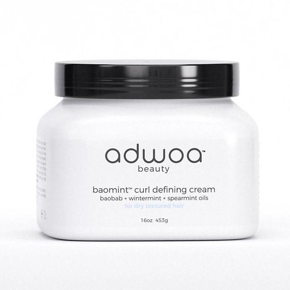 Made with moisturizing honey, silk amino acids, and shea butter, Adwoa Beauty's Baomint Moisturizing Curl Defining Cream curl cream softens and hydrates hair, plus smooths out damaged cuticles and ends.