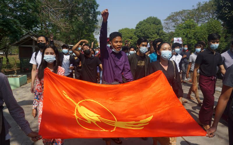 Students from Dagon University take part in a demonstration against the military coup in Yangon