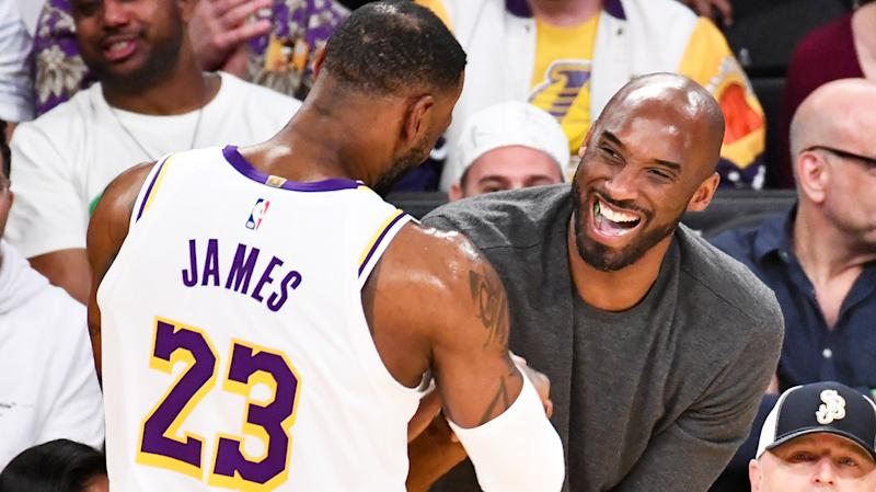 LeBron James is pictured embracing Kobe Bryant during a game between the Los Angeles Lakers and Atlanta Hawks in November, 2019.