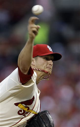 St. Louis Cardinals starting pitcher Shelby Miller throws during the first inning of a baseball game against the Texas Rangers on Saturday, June 22, 2013, in St. Louis. (AP Photo/Jeff Roberson)
