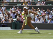 FILE - Czech Republic's Barbora Krejcikova plays a return to Australia's Ashleigh Barty during the women's singles fourth round match on day seven of the Wimbledon Tennis Championships in London, in this Monday, July 5, 2021. Krejcikova is seeded for the U.S. Open, the year's last Grand Slam tennis tournament. Play in the main draw begins in New York on Monday, Aug. 30. (AP Photo/Alastair Grant, File)