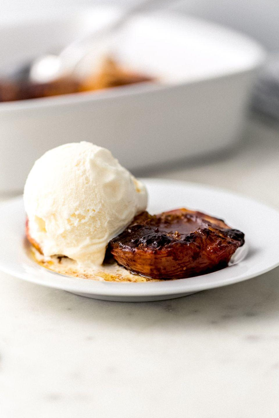 """<p>Brown sugar and peaches go so well together, and this dish is proof! Serve these peaches warm with a scoop of your favorite ice cream.</p><p><strong>Get the recipe at <a href=""""https://www.simplylakita.com/brown-sugar-baked-peaches/"""" rel=""""nofollow noopener"""" target=""""_blank"""" data-ylk=""""slk:Simply LaKita"""" class=""""link rapid-noclick-resp"""">Simply LaKita</a>.</strong></p><p><a class=""""link rapid-noclick-resp"""" href=""""https://go.redirectingat.com?id=74968X1596630&url=https%3A%2F%2Fwww.walmart.com%2Fsearch%2F%3Fquery%3Dpioneer%2Bwoman%2Bserving%2Bplates&sref=https%3A%2F%2Fwww.thepioneerwoman.com%2Ffood-cooking%2Frecipes%2Fg36382592%2Fpeach-desserts%2F"""" rel=""""nofollow noopener"""" target=""""_blank"""" data-ylk=""""slk:SHOP SERVING PLATES"""">SHOP SERVING PLATES</a><strong><br></strong></p>"""