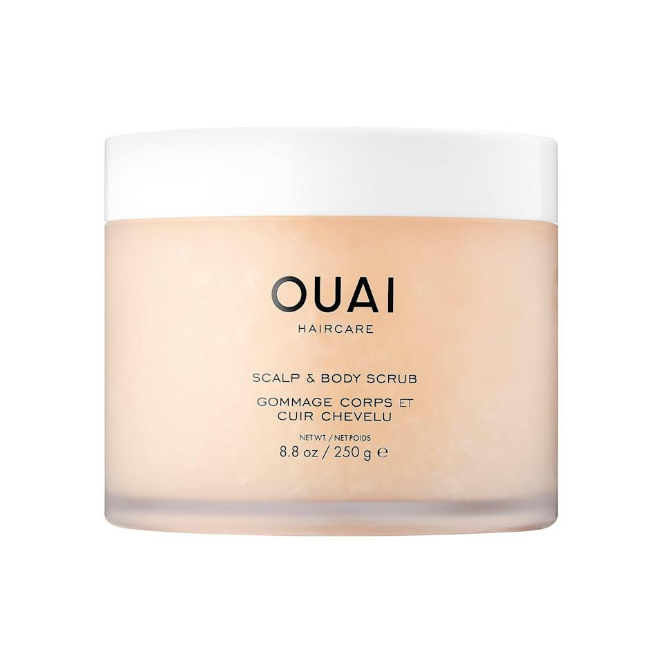 <p>With sugar crystals and coconut oil, this <span>Ouai Scalp and Body Scrub</span> ($38) makes a sweet exfoliator for your hair and your entire body, too.</p>