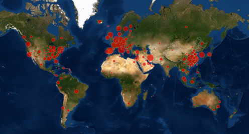 """<span class=""""caption"""">COVID-19 cases as of March 22 2019.</span> <span class=""""attribution""""><a class=""""link rapid-noclick-resp"""" href=""""https://gisanddata.maps.arcgis.com/apps/opsdashboard/index.html#/bda7594740fd40299423467b48e9ecf6"""" rel=""""nofollow noopener"""" target=""""_blank"""" data-ylk=""""slk:The Center for Systems Science and Engineering at John Hopkins University"""">The Center for Systems Science and Engineering at John Hopkins University</a></span>"""
