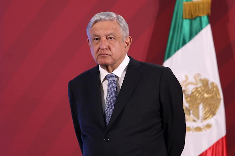 MEXICO CITY, MEXICO - MARCH 23: Andrés Manuel López Obrador, Mexico's president, looks on during the daily morning briefing at Palacio Nacional on March 23, 2020 in Mexico City, Mexico. On the first day of 'Jornada Nacional de Sana Distancia'. President Lopez Obrador announced measures that include social distancing, school suspension and non-esential businesses should close or work from home. (Photo by Adrián Monroy/Medios y Media/Getty Images)