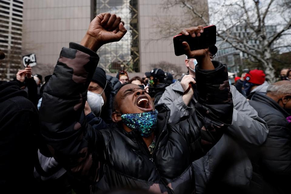 A person reacts after the verdict in the trial of former Minneapolis police officer Derek Chauvin, in the death of George Floyd, in front of Hennepin County Government Center, in Minneapolis, Minnesota, U.S., April 20, 2021. (Carlos Barria/Reuters)