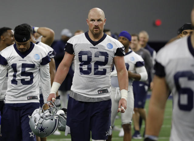 Dallas Cowboys tight end Jason Witten walks off the field after drills at the team's NFL football training facility in Frisco, Texas, on Tuesday. (AP/Tony Gutierrez)