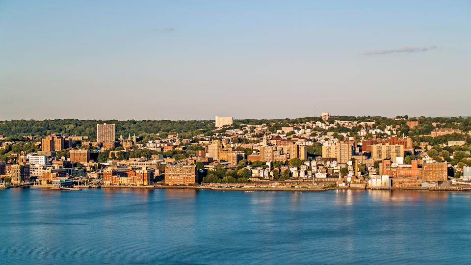 Yonkers, New York with the Hudson river in the foreground.