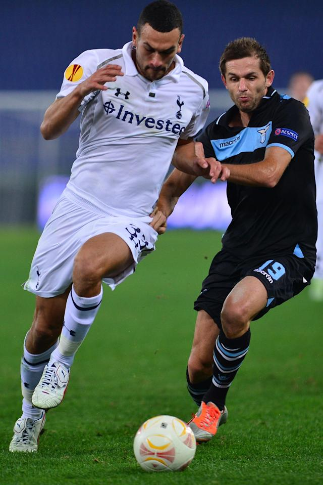 Lazio's defenderof Bosnia and Herzegovina Senad Lilic (R) fights for the ball with Tottenham Hotspur's English defender Steven Caulker during the group J Europa League football match between Lazio and Tottenham on November 22 , 2012 at the Olympic stadium in Rome. AFP PHOTO / ALBERTO PIZZOLIALBERTO PIZZOLI/AFP/Getty Images
