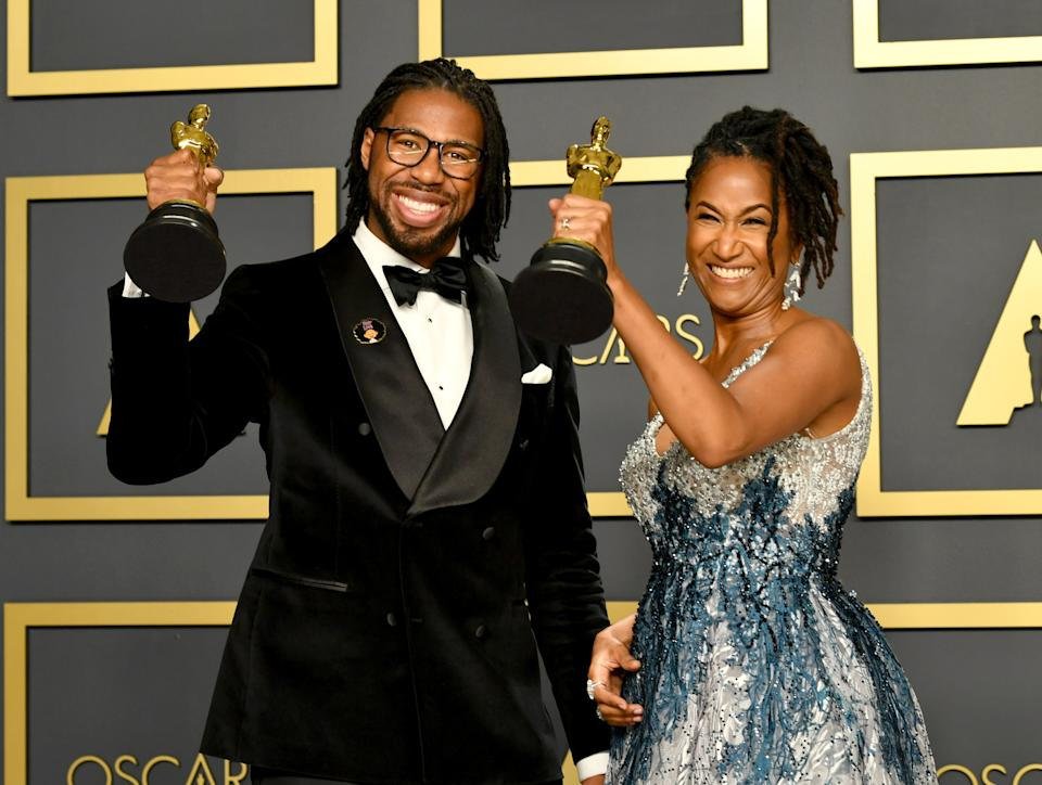 Matthew Cherry and Karen Toliver address issue of hair discrimination during Oscars 2020 acceptance speech. (Photo: Getty Images)