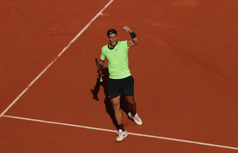 PARIS, FRANCE - JUNE 09: Rafael Nadal of Spain celebrates a point during his Mens Singles Quarter-Final match against Diego Schwartzman of Argentina during Day Eleven of the 2021 French Open at Roland Garros on June 09, 2021 in Paris, France. (Photo by Adam Pretty/Getty Images)