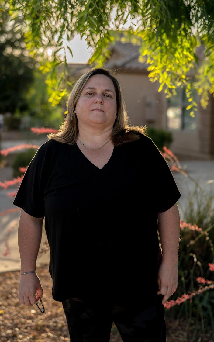 Amy Cabrera outside her home in San Tan Valley, Ariz., on June 2, 2021. (Juan Arredondo/The New York Times)