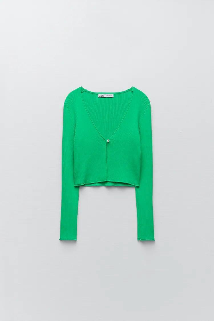 <p>We've been seeing cute cardigan sets all over lately, and the <span>Zara Ribbed Knit Cardigan</span> ($40) with the matching <span> Ribbed Knit Cropped Top </span> ($20) is at the top if our wish list. The vibrant shade is unique, and each piece is cool enough wear on its own.</p>