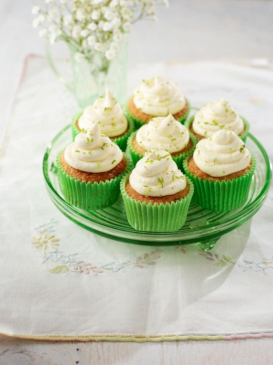 """<p>Coconut, rum and lime are a recipe for success. If you're making these for children, omit the Malibu and simmer the syrup for less time.</p><p><strong>Recipe: <a href=""""https://www.goodhousekeeping.com/uk/food/recipes/a27124854/rum-cupcakes/"""" rel=""""nofollow noopener"""" target=""""_blank"""" data-ylk=""""slk:Coconut Rum Cupcakes"""" class=""""link rapid-noclick-resp"""">Coconut Rum Cupcakes</a> </strong></p>"""