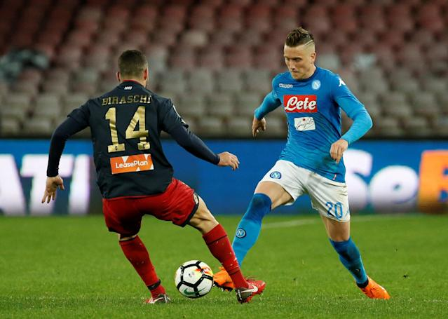 Soccer Football - Serie A - Napoli vs Genoa - Stadio San Paolo, Naples, Italy - March 18, 2018 Napoli's Piotr Zielinski in action with Genoa's Davide Biraschi REUTERS/Ciro De Luca