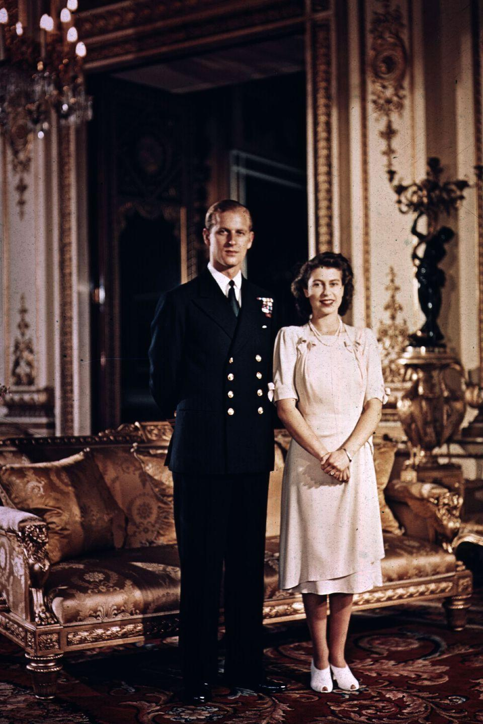 <p> The engaged couple were photographed at Buckingham Palace shortly before their stunning wedding.</p>