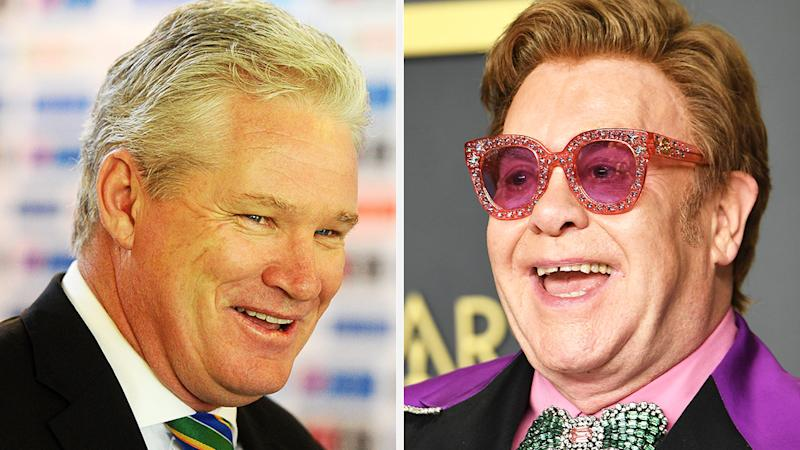 A 50-50 split image shows Dean Jones on the left and Elton John on the right.