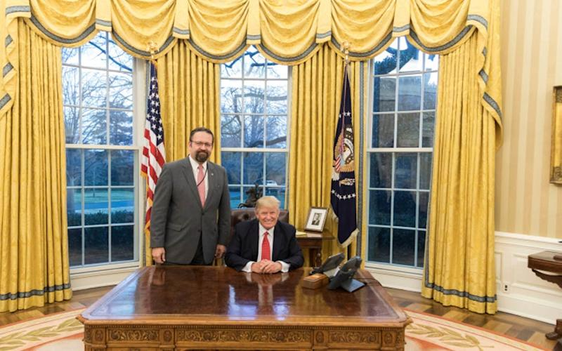 Left Gorka and President Trump in the Oval Office, February 2017 - Credit: Official White House photo/Shealah Craighead.