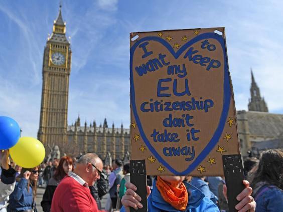 Pro-EU demonstrators pass the Houses of Parliament (AFP/Getty)