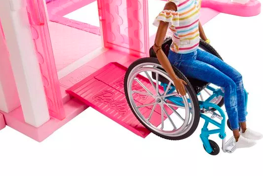 The new doll uses a special pink ramp to enter her Dreamhouse [Image: Mattel]