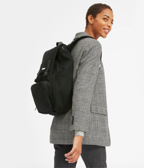The Modern Snap Backpack in Black and Black Leather. Image via Everlane.