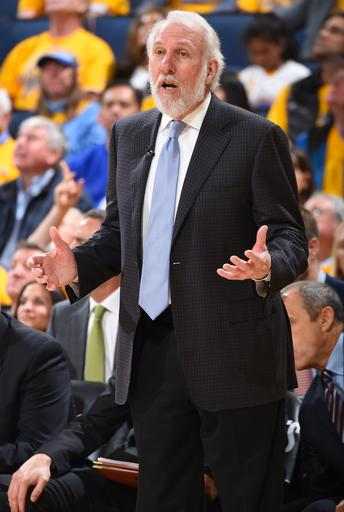 OAKLAND, CA - APRIL 16: Gregg Popovich of the San Antonio Spurs during the game against the Golden State Warriors in Game Two of Round One of the 2018 NBA Playoffs on April 16, 2018 at ORACLE Arena in Oakland, California. (Photo by Andrew D. Bernstein/NBAE via Getty Images)