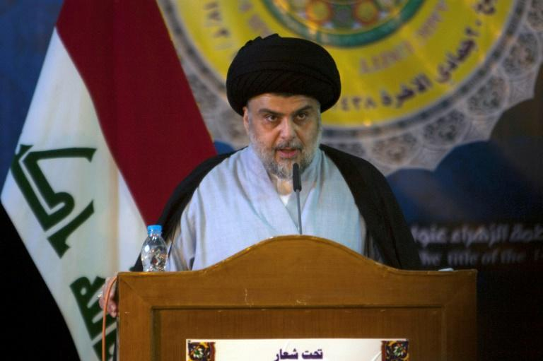 Shiite cleric Moqtada al-Sadr delivers a speech during  a gathering in the Iraqi holy city of Najaf on March 19, 2017