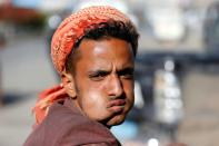 Man chews qat, a mild stimulant, amid concerns of the spread of the coronavirus disease (COVID-19) in Sanaa