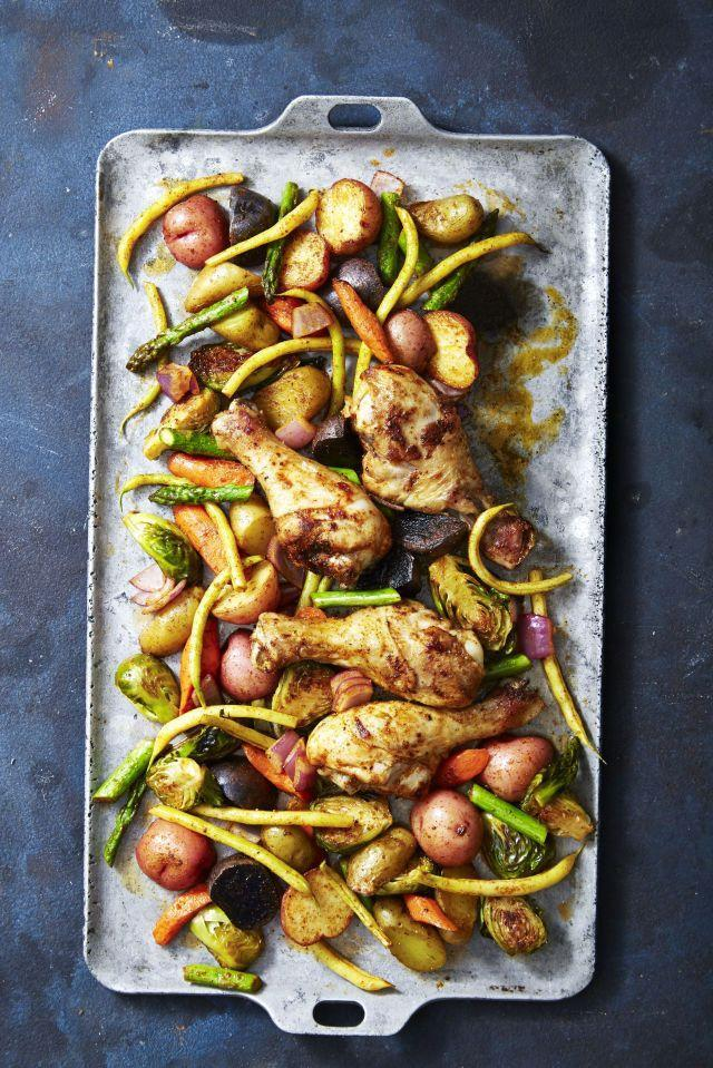 """<p>Spice-rubbed chicken with veggies and potatoes baked 'til golden brown — it sounds like a feast ready to be devoured. </p><p><a class=""""link rapid-noclick-resp"""" href=""""https://www.goodhousekeeping.com/food-recipes/party-ideas/a26025793/nordic-ware-bakers-half-sheet-review/"""" rel=""""nofollow noopener"""" target=""""_blank"""" data-ylk=""""slk:Shop Sheet Pans"""">Shop Sheet Pans</a></p><p><em><a href=""""https://www.goodhousekeeping.com/food-recipes/a40386/rustic-smoky-glazed-chicken-veggie-bake-recipe/"""" rel=""""nofollow noopener"""" target=""""_blank"""" data-ylk=""""slk:Get the recipe for Rustic Smoky Glazed Chicken & Veggie Bake »"""" class=""""link rapid-noclick-resp"""">Get the recipe for Rustic Smoky Glazed Chicken & Veggie Bake »</a></em></p>"""