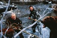 <p>This 1997 survivalist thriller from director Lee Tamahori and writer David Mamet centres on a billionaire (Anthony Hopkins) and a photographer (Alec Baldwin) who's having an affair with his wife, who must put aside their differences when a plane crash strands them in the wilderness with a grizzly bear out to get them. Again, no one thought to offer up marmalade. (Credit: 20th Century Fox) </p>