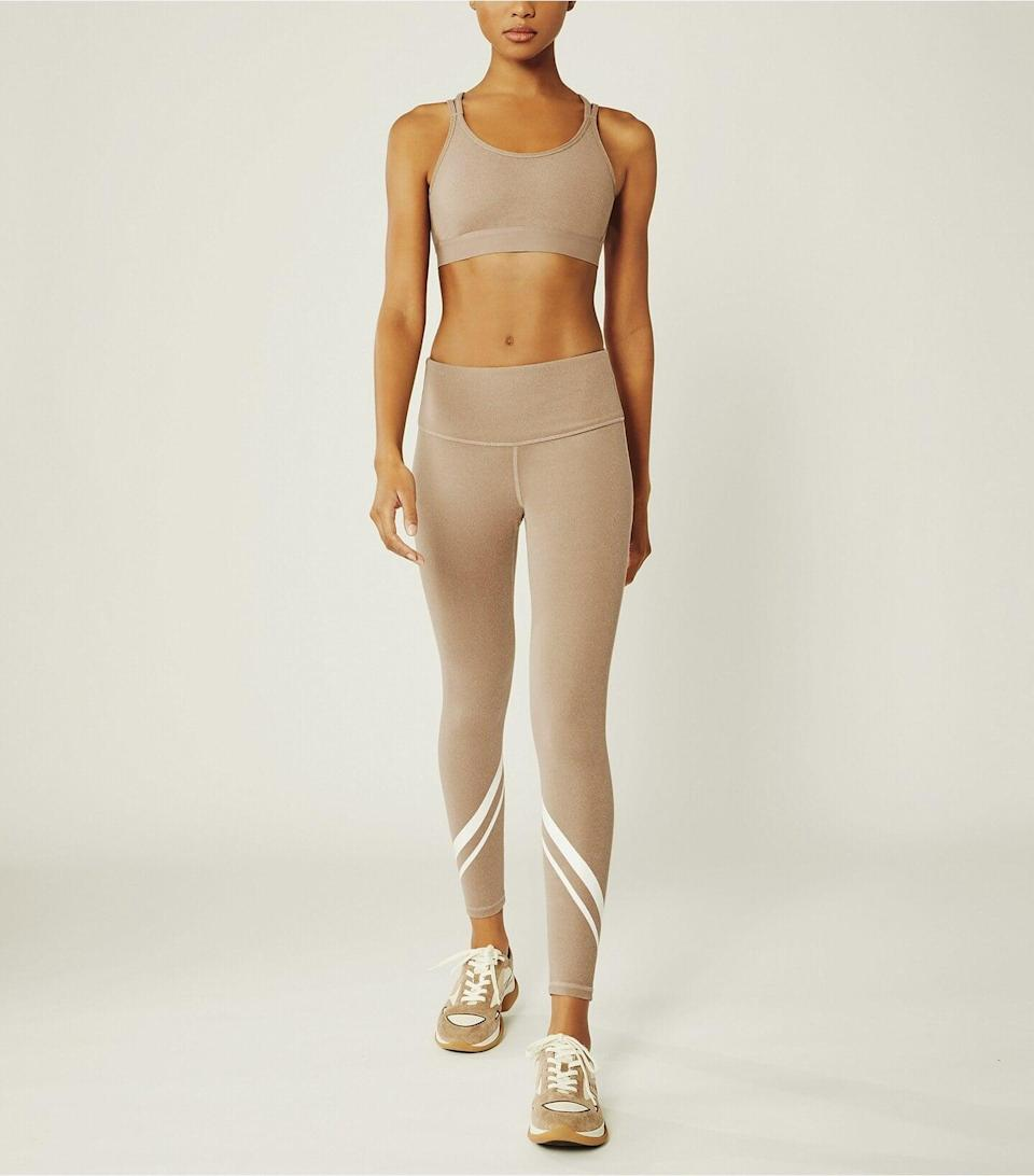 <p>These <span>Tory Sport High-Rise Compression Mélange Side-Pocket Chevron Leggings</span> ($148) come in three colors and are so flattering.</p>