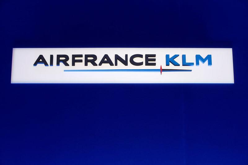 FILE PHOTO - The Air France-KLM company logo is seen during the company's half-year results in Paris