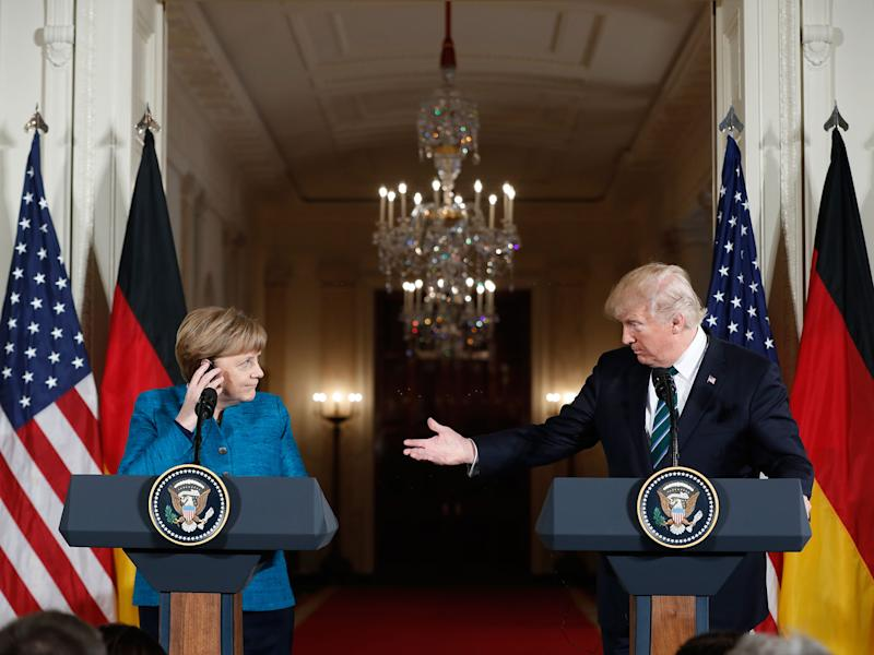 Donald Trump and Angela Merkel during their joint press conference at the White House: Pablo Martinez Monsivais/AP