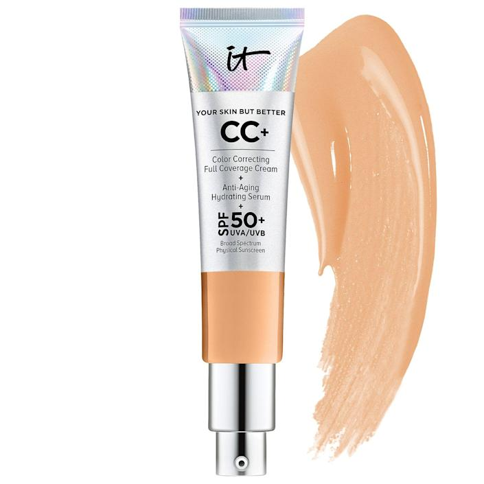 """<p><strong>IT Cosmetics</strong></p><p>sephora.com</p><p><strong>$39.50</strong></p><p><a href=""""https://go.redirectingat.com?id=74968X1596630&url=https%3A%2F%2Fwww.sephora.com%2Fproduct%2Fyour-skin-but-better-cc-cream-spf-50-P411885&sref=https%3A%2F%2Fwww.goodhousekeeping.com%2Fbeauty-products%2Fg30611666%2Fbest-cc-cream%2F"""" rel=""""nofollow noopener"""" target=""""_blank"""" data-ylk=""""slk:Shop Now"""" class=""""link rapid-noclick-resp"""">Shop Now</a></p><p>With nearly 2,000 5-star reviews on Sephora, this bestselling CC cream is a total hit. You'll get a full-coverage finish, plus powerful SPF 50 and antioxidants in the formula. It's great no matter what skin type you have, but we think the hydrating cream is <strong>ideal for those with dry or mature skin</strong>. """"It wears well on my mature (58-year-old) face without settling into wrinkles or exaggerating pores,"""" says one reviewer. </p>"""