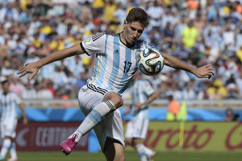Argentina defender Federico Fernandez controls the ball during World Cup match against Iran at the Mineirao Stadium in Belo Horizonte, Brazil on June 21, 2014
