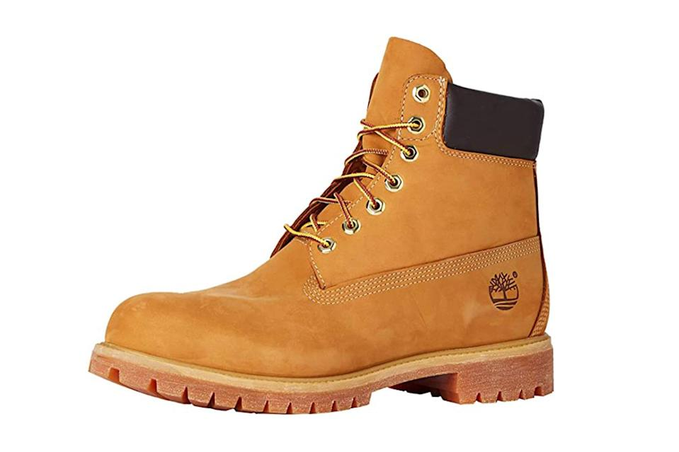 "$198, Amazon. <a href=""https://www.amazon.com/Timberland-Classic-Premium-Wheat-Nubuck/dp/B000VX38BO/ref=sr_1_3?dchild=1&keywords=timberland&qid=1602700919&s=apparel&sr=1-3&th=1&psc=1"" rel=""nofollow noopener"" target=""_blank"" data-ylk=""slk:Get it now!"" class=""link rapid-noclick-resp"">Get it now!</a>"
