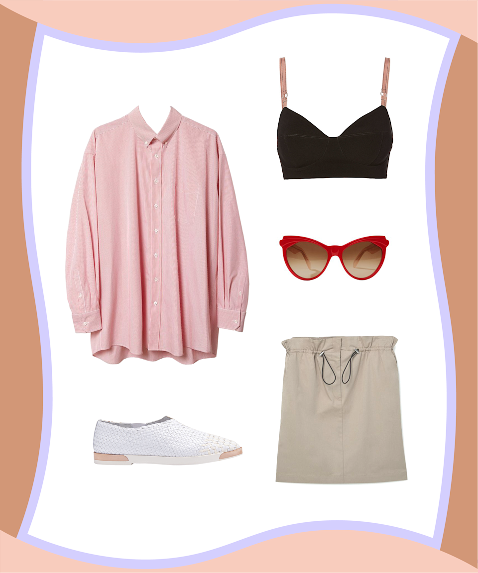 "<p>Give a classic button-up a little <em>oomph</em> by wearing a wide-band bralette over it, rather than under. Pair that combo with a spring-ready skirt and some comfy flats for an unexpected off-duty look that'll make all your weekend outing pics even more double-tap worthy.</p><p><strong>Maison Margiela</strong> Striped Button Down Shirt, $765, available at<a href=""https://lagarconne.com/collections/tops/products/tmms74ss17-maison-margiela-striped-button-down-shirt"" rel=""nofollow noopener"" target=""_blank"" data-ylk=""slk:La Garçonne"" class=""link rapid-noclick-resp""> La Garçonne</a>; <strong>Cinq A Sept</strong> Toria Bralette Top, $195, available at <a href=""https://www.intermixonline.com/product/cinq+%C3%A0+sept+toria+bralette+top.do?sortby=ourPicks&from=Search&"" rel=""nofollow noopener"" target=""_blank"" data-ylk=""slk:Intermix"" class=""link rapid-noclick-resp"">Intermix</a>; <strong>Zanzan</strong> Eruzulie Sunglasses, $360, available at <a href=""https://www.lyst.com/accessories/zanzan-erzulie-sunglasses-hot-pink/?product=NFTGCQW&atc_country=USA&atc_content=USA-PLA-Zanzan%2BSunglasses-Clothing%2B%2526%2BAccessories%2B%253E%2BClothing%2BAccessories%2B%253E%2BSunglasses-RPC%2BPrototype-no&atc_source=google&atc_medium=cpc&size=O%2FS&atc_campaign=USA-PLA-AllBrands&atc_grouping=Google-PLA&sem_id=A80325270&gclid=CIf7mcePi9MCFReHswodTo4OZw&gclsrc=aw.ds&dclid=CJqQrcePi9MCFSW-swodSJUK7w"" rel=""nofollow noopener"" target=""_blank"" data-ylk=""slk:Lyst"" class=""link rapid-noclick-resp"">Lyst</a>; <strong>Mango</strong> Elastic Waist Skirt, $59.99, available at <a href=""https://shop.mango.com/US/p0/women/clothing/skirts/short/elastic-waist-skirt?id=81063055_06&n=1&s=prendas.faldas"" rel=""nofollow noopener"" target=""_blank"" data-ylk=""slk:Mango"" class=""link rapid-noclick-resp"">Mango</a>; <strong>Miista</strong> Fleur White Flats, $300, available at <a href=""https://usa.miista.com/collections/ss17-cinema-impero/products/fleur-white-flats"" rel=""nofollow noopener"" target=""_blank"" data-ylk=""slk:Miista"" class=""link rapid-noclick-resp"">Miista</a>.</p>"