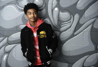 """Actor/rapper Miles Brown poses for a portrait to promote his album """"We The Future,"""" Friday, Nov. 6, 2020, in Los Angeles. (AP Photo/Chris Pizzello)"""