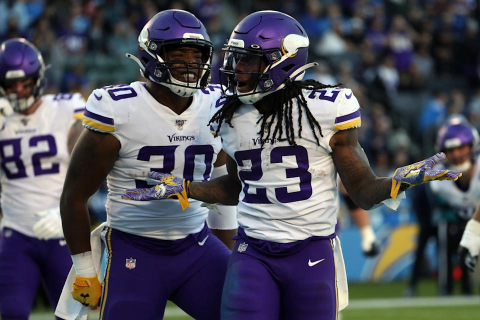LOS ANGELES, CA - DECEMBER 15: Minnesota Vikings Running Back Mike Boone (23) celebrates after scoring a touchdown during an NFL game between the Minnesota Vikings and the Los Angeles Chargers on December 15, 2019, at Dignity Health Sports Park in Los Angeles, CA. (Photo by Kiyoshi Mio/Icon Sportswire via Getty Images)