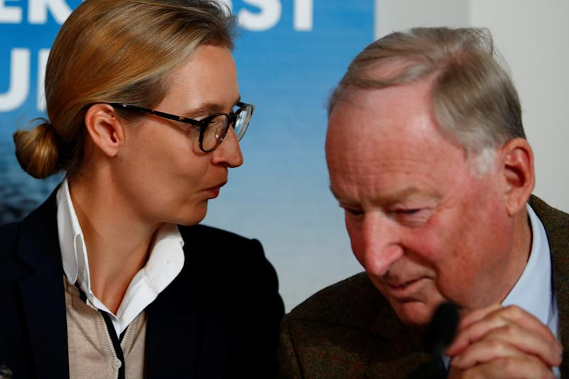 Co-lead AFD candidates Alexander Gauland and Alice Weidel attend a news conference in Berlin, Germany Sept. 18, 2017. (Axel Schmidt / Reuters)