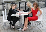 LONDON, ENGLAND - FEBRUARY 14: To celebrate Vodafone's sponsorship of London Fashion Week and London Fashion Weekend, Millie Mackintosh samples the new Vodafone Red nail polish, developed in partnership with Nails inc. at Somerset House on February 14, 2013 in London, England. (Photo by Chris Jackson/Getty Images for Vodafone)