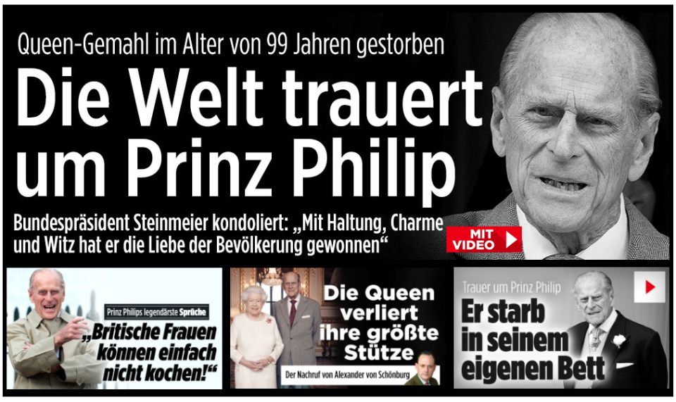 German news site Bild said 'The world mourns Prince Philip' as the Duke's death led their site on Friday. (Bild)