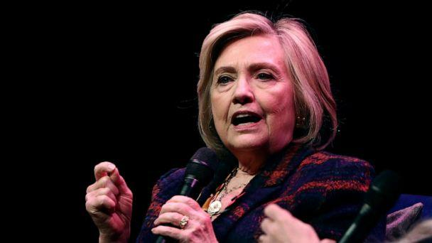 PHOTO: Former U.S. Secretary of State Hillary Clinton speaks during an event promoting 'The Book of Gutsy Women' at the Southbank Centre in London, Nov. 10, 2019. (Simon Dawson/Reuters)