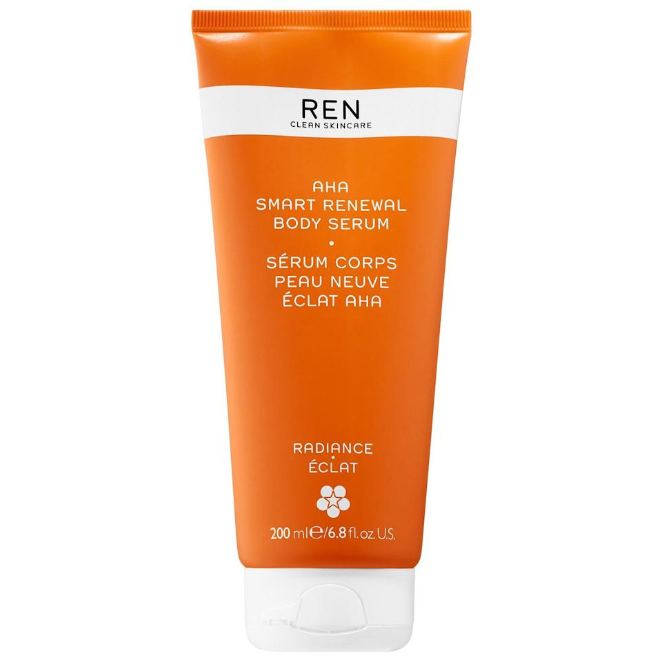"""<p><strong>REN Clean Skincare</strong></p><p>sephora.com</p><p><strong>$42.00</strong></p><p><a href=""""https://go.redirectingat.com?id=74968X1596630&url=https%3A%2F%2Fwww.sephora.com%2Fproduct%2Faha-smart-renewal-body-serum-P431845&sref=https%3A%2F%2Fwww.cosmopolitan.com%2Fstyle-beauty%2Fbeauty%2Fg33995669%2Fbest-body-serums%2F"""" rel=""""nofollow noopener"""" target=""""_blank"""" data-ylk=""""slk:Shop Now"""" class=""""link rapid-noclick-resp"""">Shop Now</a></p><p>The hero ingredient in this body <a href=""""https://www.cosmopolitan.com/style-beauty/beauty/g25360983/best-face-serum/"""" rel=""""nofollow noopener"""" target=""""_blank"""" data-ylk=""""slk:serum"""" class=""""link rapid-noclick-resp"""">serum</a>? Lactic acid—<strong>a gentle AHA that helps exfoliate skin</strong> by dissolving the glue that holds together dead skin cells. Use it daily to smooth rough texture, nix bumps (from things like <a href=""""https://www.cosmopolitan.com/style-beauty/beauty/g28724413/best-keratosis-pilaris-treatments/"""" rel=""""nofollow noopener"""" target=""""_blank"""" data-ylk=""""slk:KP"""" class=""""link rapid-noclick-resp"""">KP</a> and body breakouts), and eliminate dry patches. Make sure to follow with a layer of moisturizer to keep your skin from drying out.</p>"""