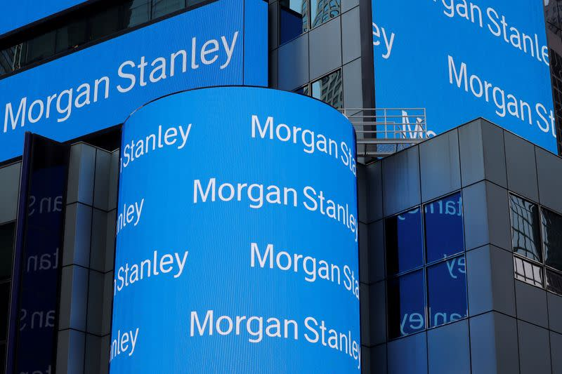 FILE PHOTO: A sign is displayed on the Morgan Stanley building in New York