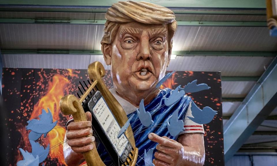 US President Donald Trump depicted as emperor Nero at a carnival in Germany