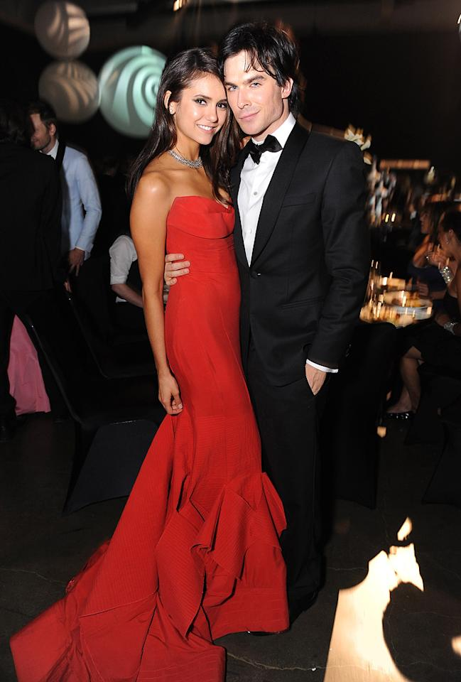 """Red-hot couple and """"Vampire Diaries"""" co-stars Nina Dobrev and Ian Somerhalder posed for a few pics at the Governor's Ball before disappearing into the night. Jordan Strauss/<a href=""""http://www.wireimage.com"""" target=""""new"""">WireImage.com</a> - September 18, 2011"""